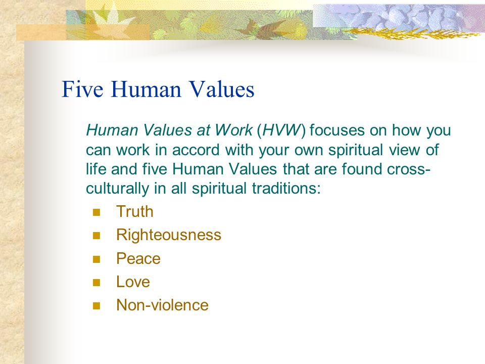 Five Human Values Human Values at Work (HVW) focuses on how you can work in accord with your own spiritual view of life and five Human Values that are