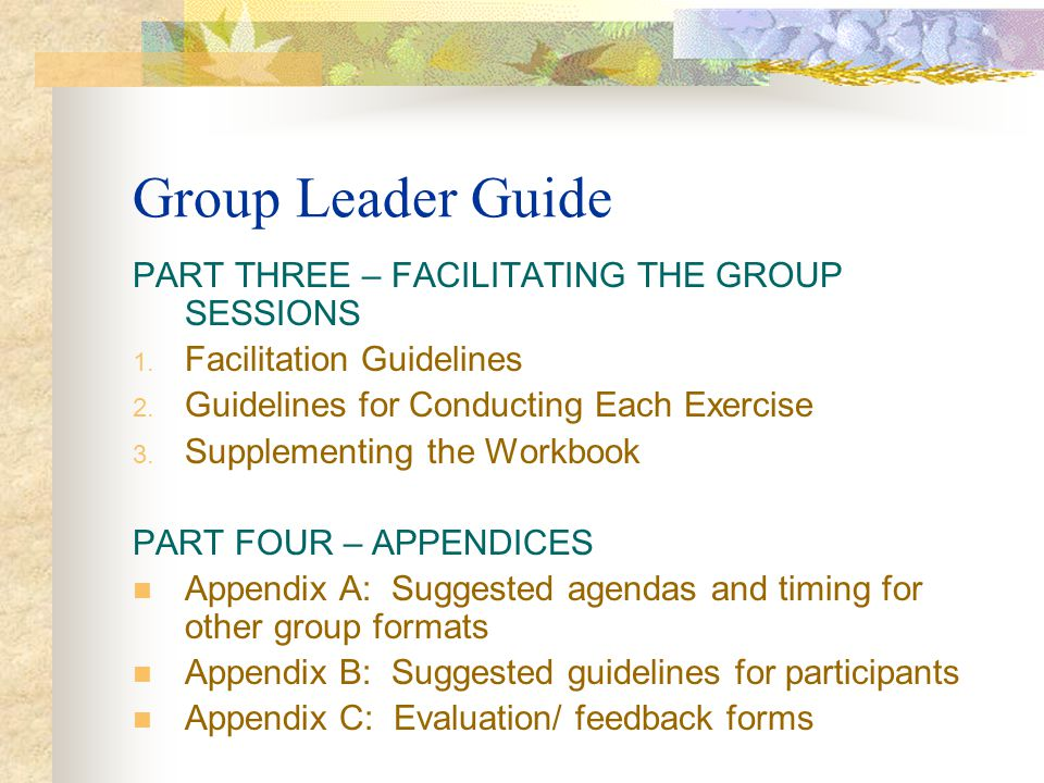 Group Leader Guide PART THREE – FACILITATING THE GROUP SESSIONS 1. Facilitation Guidelines 2. Guidelines for Conducting Each Exercise 3. Supplementing