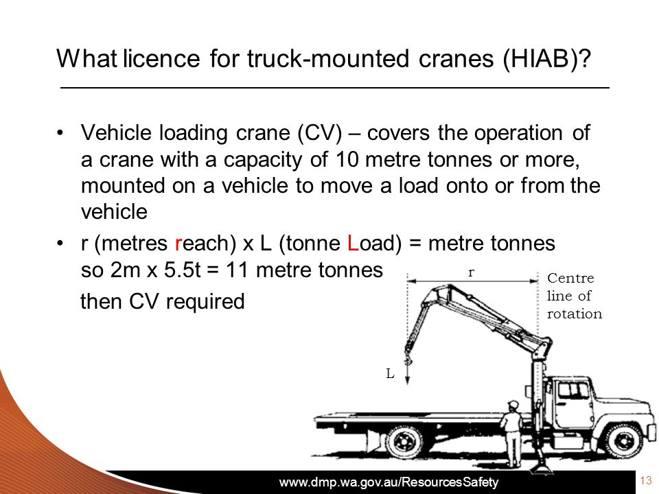 www.dmp.wa.gov.au/ResourcesSafety What licence for truck-mounted cranes (HIAB)? Vehicle loading crane (CV) – covers the operation of a crane with a ca