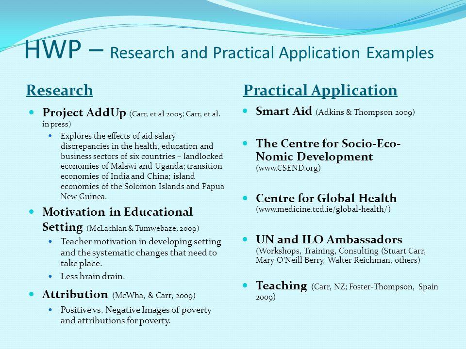 HWP – Research and Practical Application Examples ResearchPractical Application Project AddUp (Carr, et al 2005; Carr, et al. in press) Explores the e