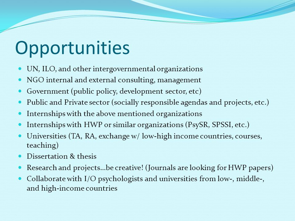 Opportunities UN, ILO, and other intergovernmental organizations NGO internal and external consulting, management Government (public policy, developme