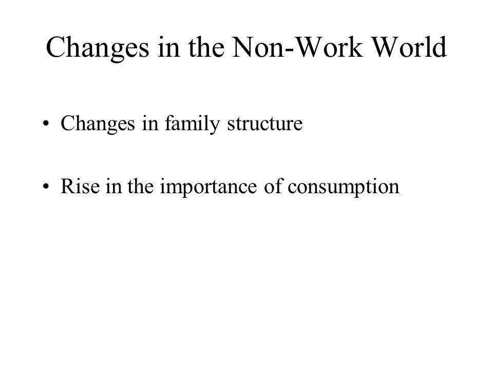 Changes in the Non-Work World Changes in family structure Rise in the importance of consumption