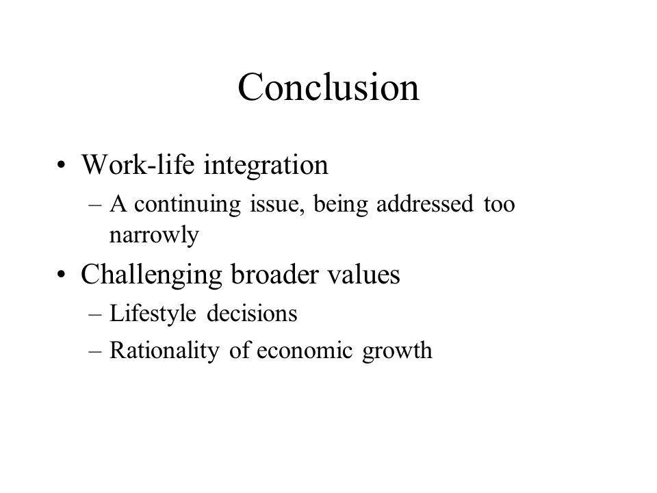 Conclusion Work-life integration –A continuing issue, being addressed too narrowly Challenging broader values –Lifestyle decisions –Rationality of economic growth