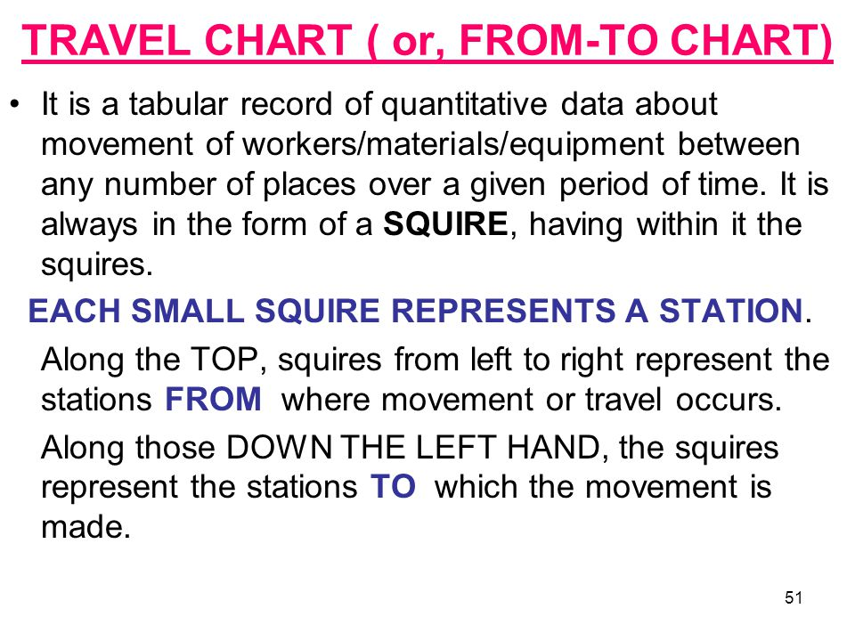 51 TRAVEL CHART ( or, FROM-TO CHART) It is a tabular record of quantitative data about movement of workers/materials/equipment between any number of p