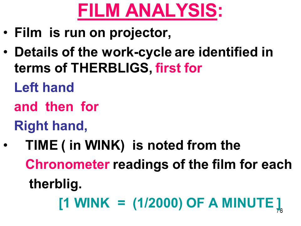 76 FILM ANALYSIS: Film is run on projector, Details of the work-cycle are identified in terms of THERBLIGS, first for Left hand and then for Right han