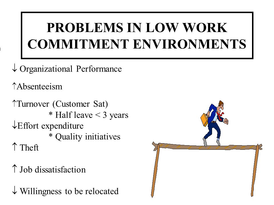 PROBLEMS IN LOW WORK COMMITMENT ENVIRONMENTS Organizational Performance Absenteeism Turnover (Customer Sat) * Half leave < 3 years Effort expenditure