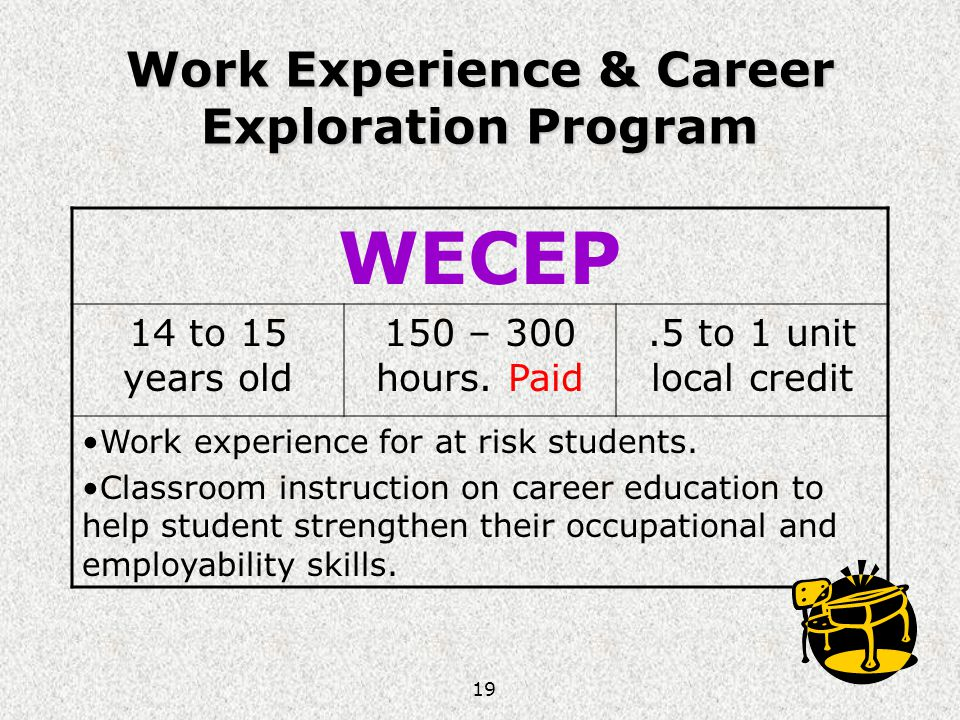 19 Work Experience & Career Exploration Program WECEP 14 to 15 years old 150 – 300 hours. Paid.5 to 1 unit local credit Work experience for at risk st