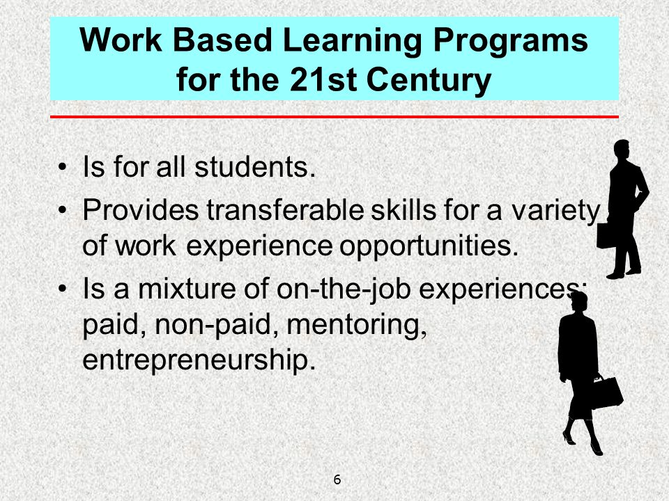 6 Work Based Learning Programs for the 21st Century Is for all students. Provides transferable skills for a variety of work experience opportunities.