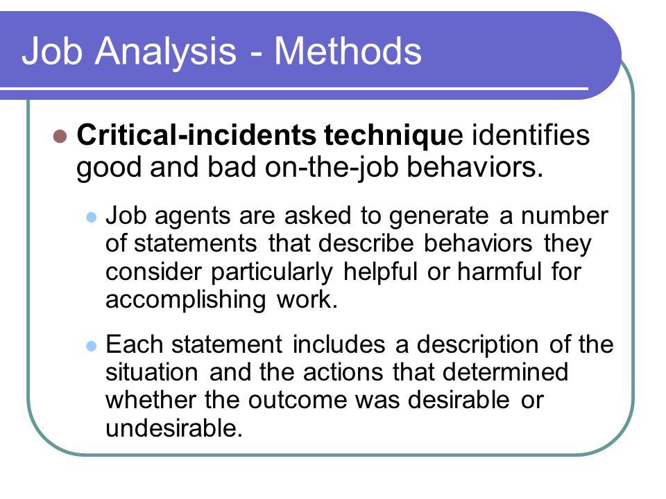 Job Analysis - Methods Critical-incidents technique identifies good and bad on-the-job behaviors.