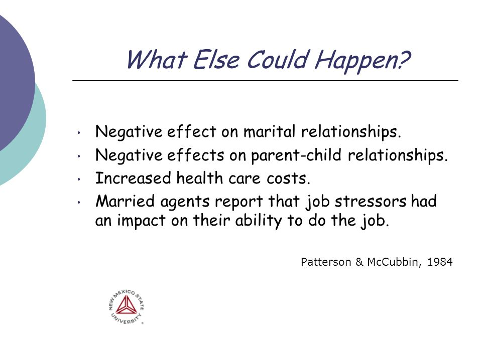 What Else Could Happen? Negative effect on marital relationships. Negative effects on parent-child relationships. Increased health care costs. Married