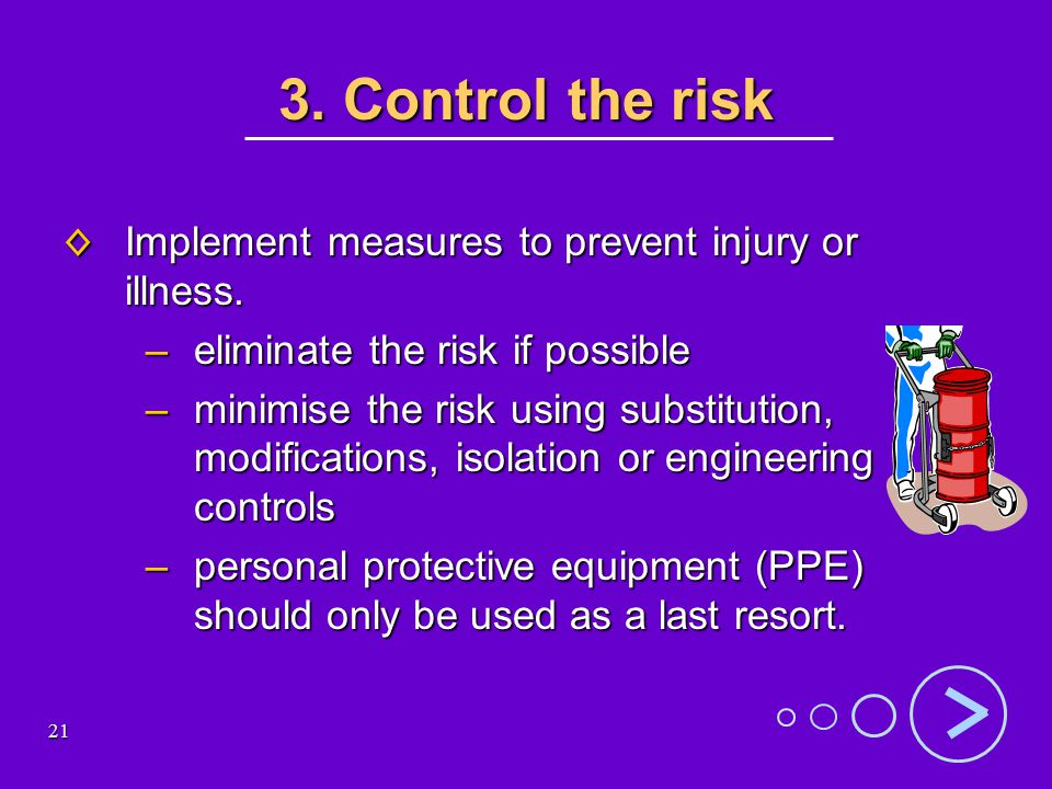 21 3. Control the risk Implement measures to prevent injury or illness.