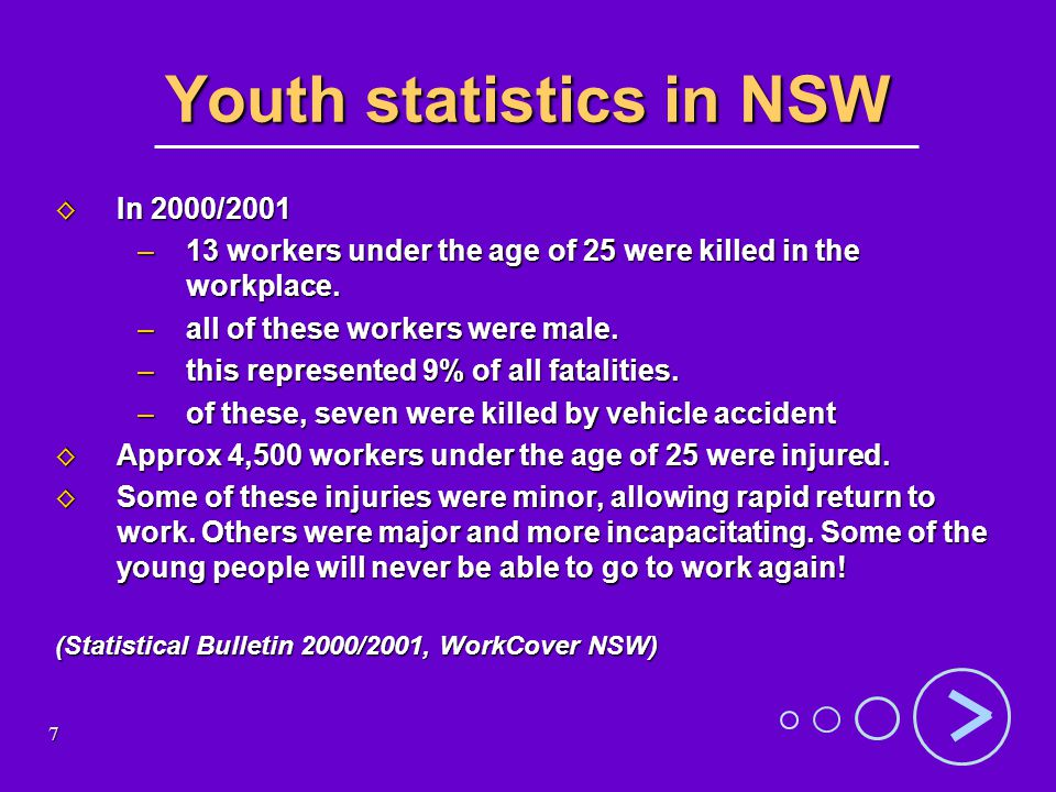 8 Top 5 critical injuries to young workers Broken bones Broken bones Severe loss of blood Severe loss of blood Head injuries Head injuries Amputation Amputation Severe burns or scalds Severe burns or scalds WorkCover, NSW