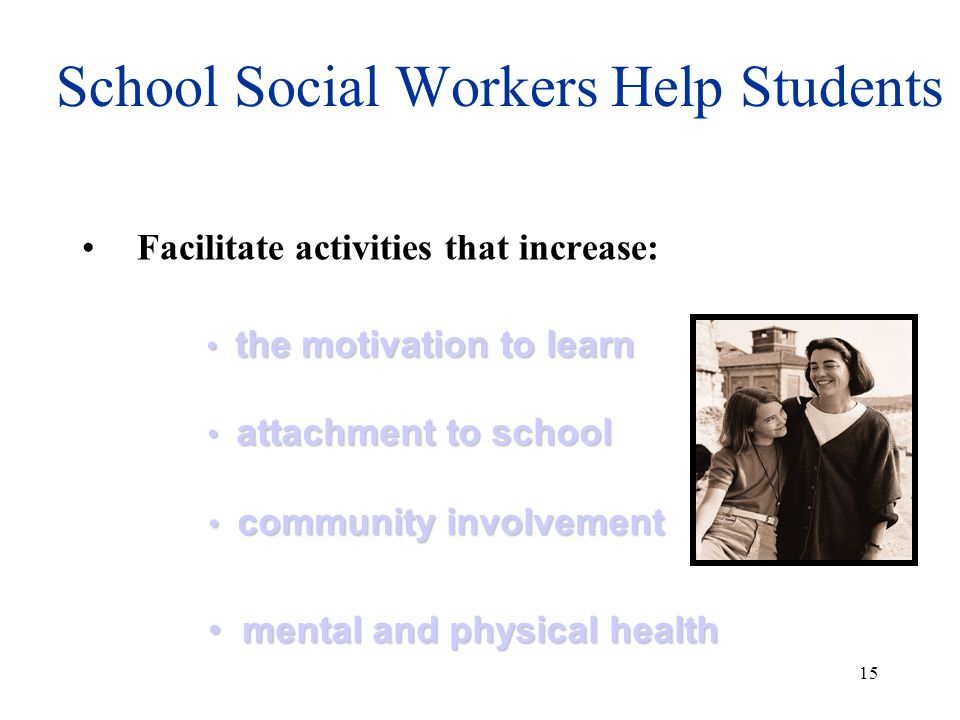 14 SCHOOL SOCIAL WORKERS HELP STUDENTS DEVELOP INTERNAL ASSETS Individual and group counseling to develop: positive social skills positive social skills anger management anger management improved self concept improved self concept self advocacy self advocacy time management time management & study skills & study skills stress management skills stress management skills