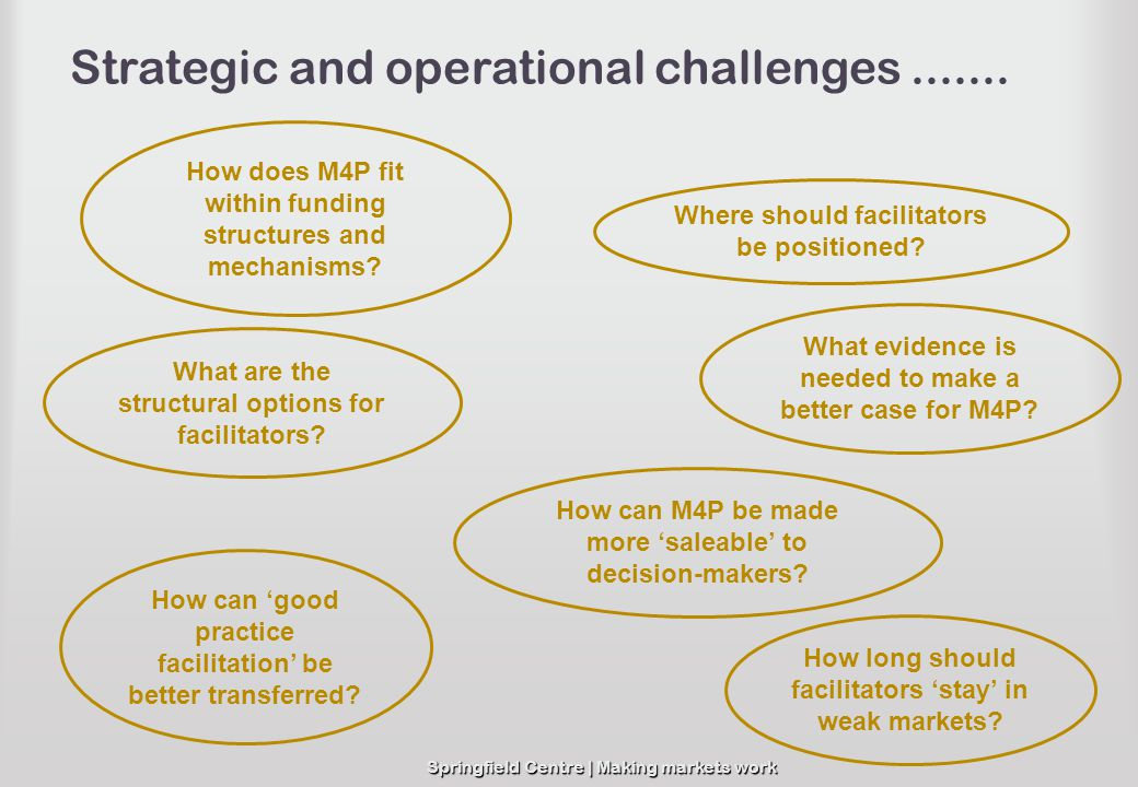 Springfield Centre | Making markets work Strategic and operational challenges....... How does M4P fit within funding structures and mechanisms? How ca