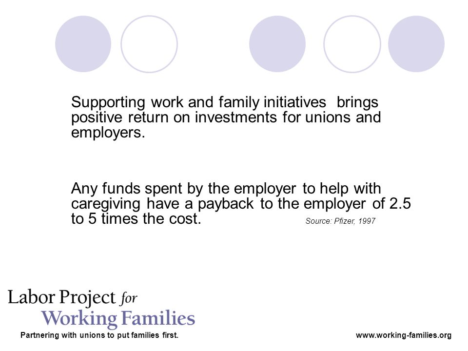 Supporting work and family initiatives brings positive return on investments for unions and employers.