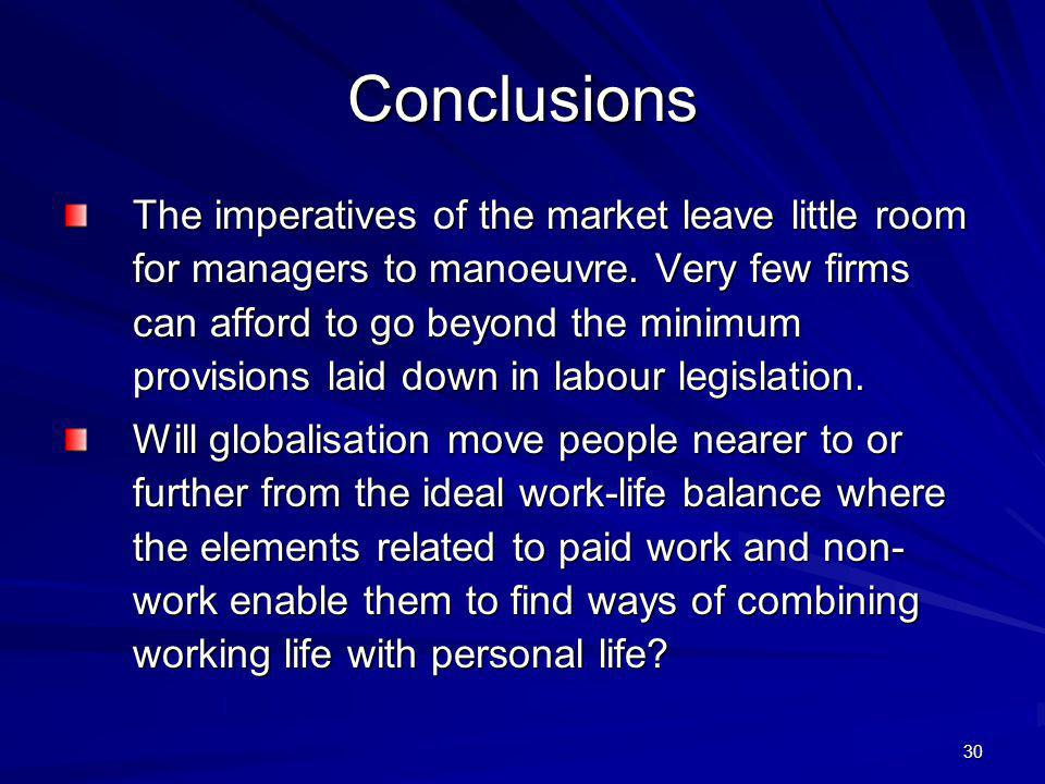 30 Conclusions The imperatives of the market leave little room for managers to manoeuvre.