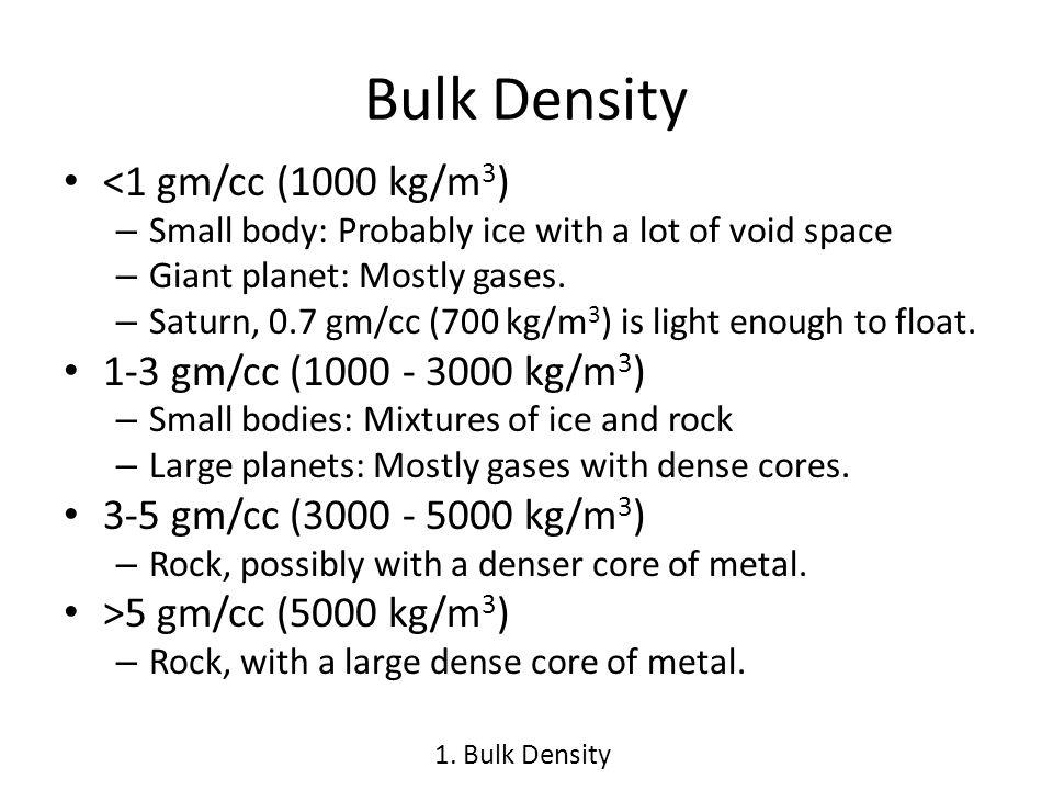 Bulk Density <1 gm/cc (1000 kg/m 3 ) – Small body: Probably ice with a lot of void space – Giant planet: Mostly gases.