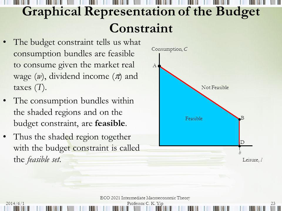 2014/6/1 ECO 2021 Intermediate Macroeconomic Theory Professor C. K. Yip23 Graphical Representation of the Budget Constraint The budget constraint tell