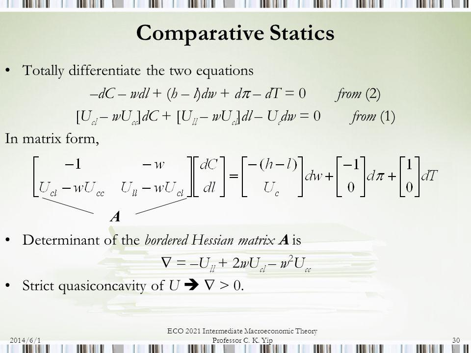 2014/6/1 ECO 2021 Intermediate Macroeconomic Theory Professor C. K. Yip30 Comparative Statics Totally differentiate the two equations –dC – wdl + (h –