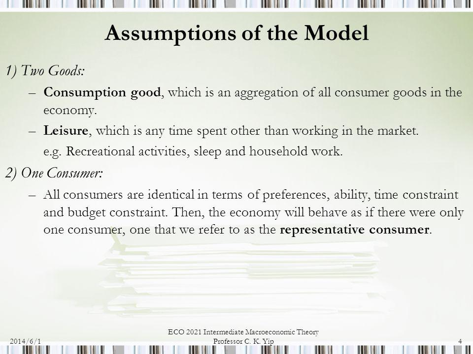 2014/6/1 ECO 2021 Intermediate Macroeconomic Theory Professor C. K. Yip4 Assumptions of the Model 1) Two Goods: –Consumption good, which is an aggrega