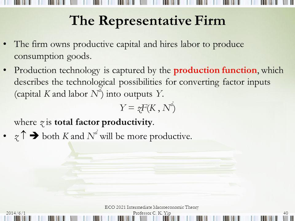 2014/6/1 ECO 2021 Intermediate Macroeconomic Theory Professor C. K. Yip40 The Representative Firm The firm owns productive capital and hires labor to
