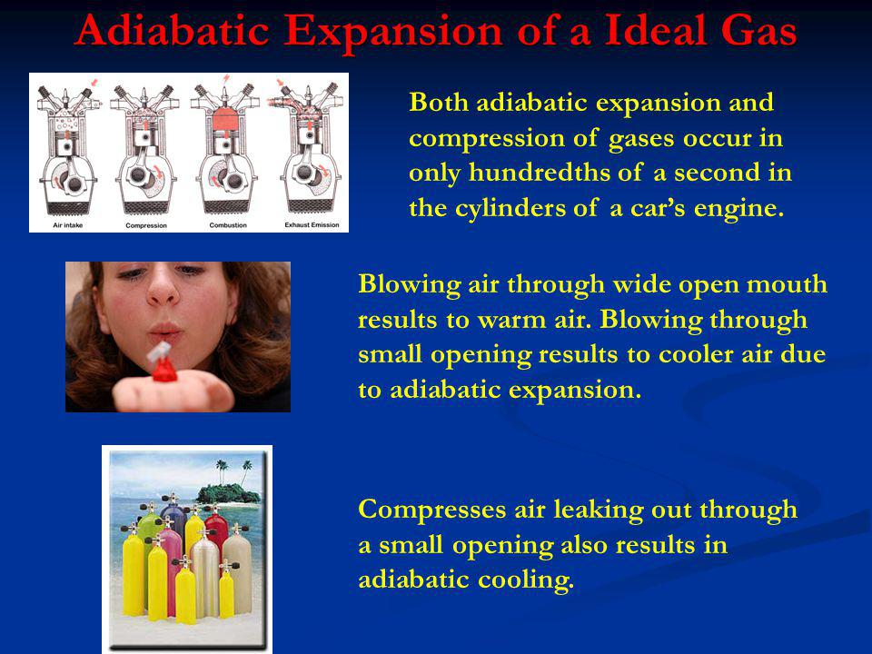 Adiabatic Expansion of a Ideal Gas Blowing air through wide open mouth results to warm air. Blowing through small opening results to cooler air due to