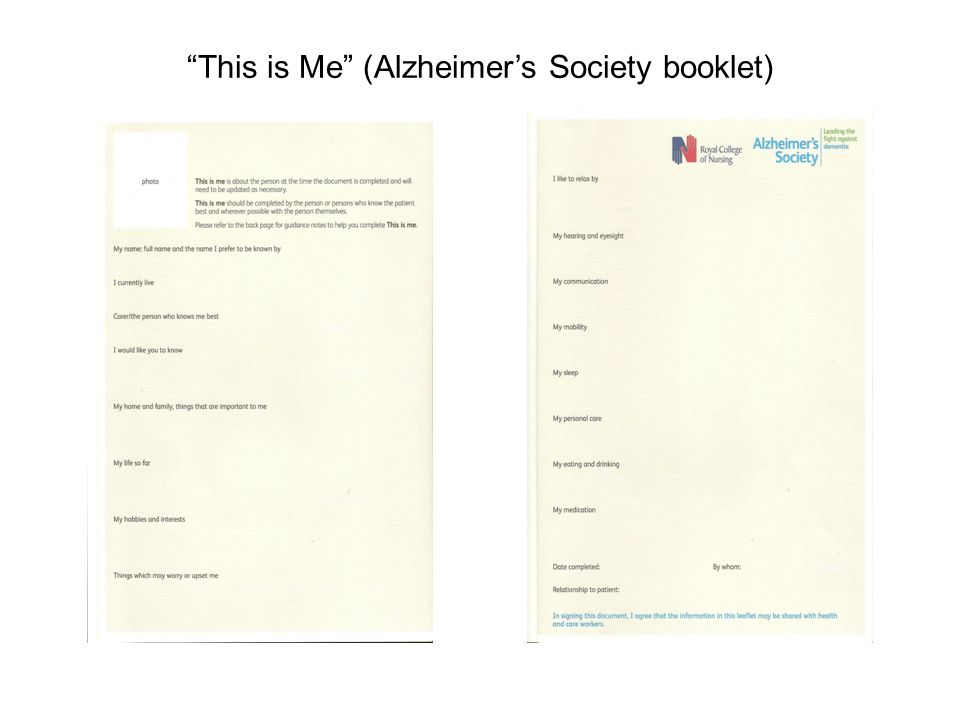This is Me (Alzheimers Society booklet)