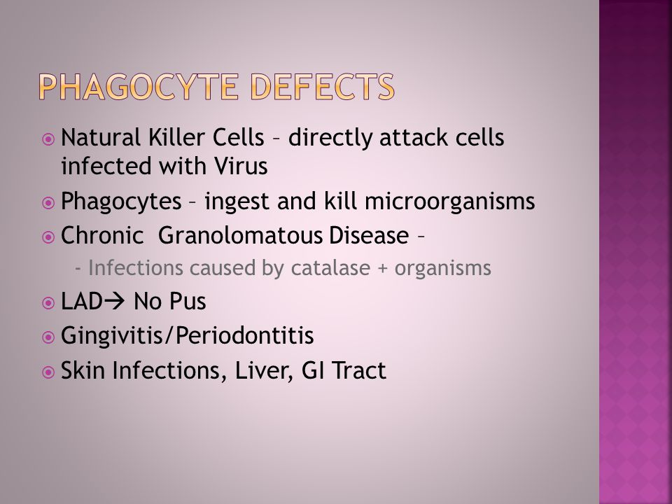 Natural Killer Cells – directly attack cells infected with Virus Phagocytes – ingest and kill microorganisms Chronic Granolomatous Disease – - Infecti