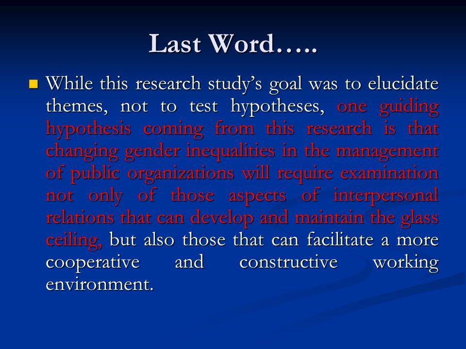 Last Word…..