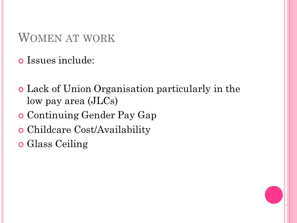 W OMEN AT WORK Issues include: Lack of Union Organisation particularly in the low pay area (JLCs) Continuing Gender Pay Gap Childcare Cost/Availabilit