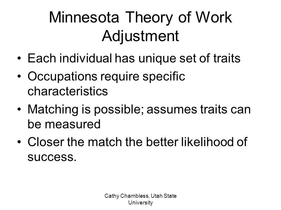 Cathy Chambless, Utah State University Concerns for people with disabilities Focus on traits does not consider AT or job modifications Impact of early experiences on career development Supported employment uses trait factor theory –Identifies consumer traits –Conducts job analysis –Performs matching Difference is: consider supports to individual or changes to environment
