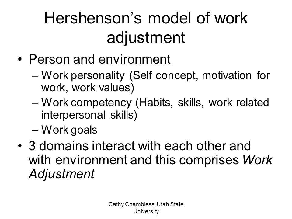 Cathy Chambless, Utah State University Hershensons model of work adjustment Person and environment –Work personality (Self concept, motivation for wor