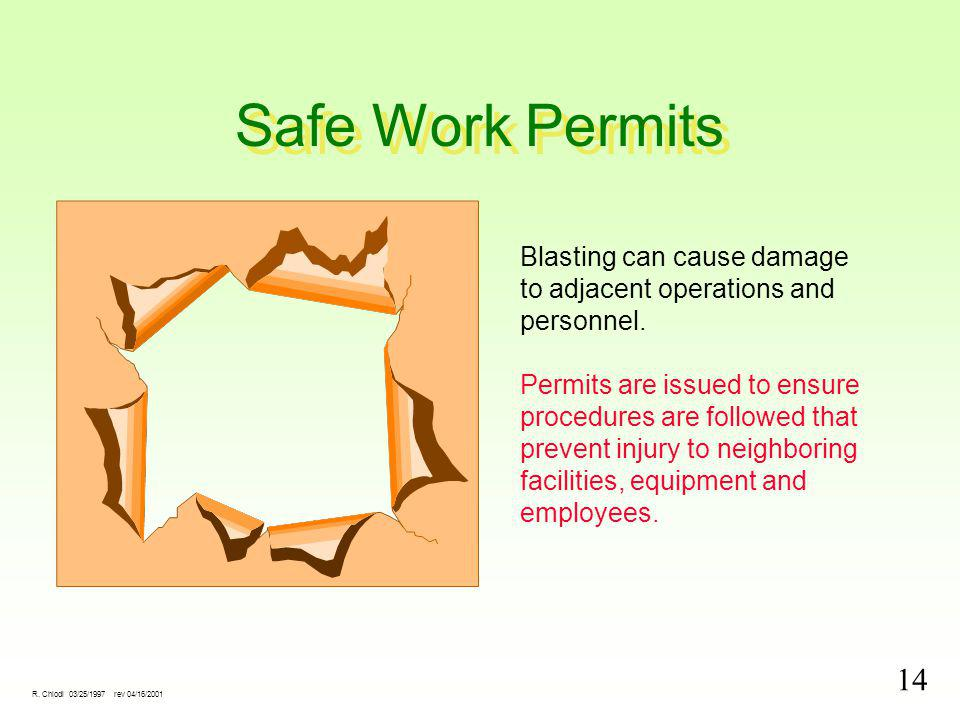 14 R. Chiodi 03/25/1997 rev 04/16/2001 Safe Work Permits Blasting can cause damage to adjacent operations and personnel. Permits are issued to ensure
