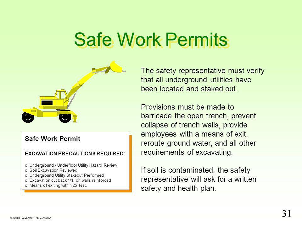 31 R. Chiodi 03/25/1997 rev 04/16/2001 Safe Work Permits Safe Work Permit ---------------------------------------------------------------------- EXCAV