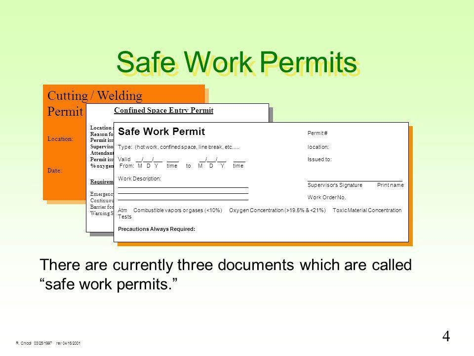 4 R. Chiodi 03/25/1997 rev 04/16/2001 Safe Work Permits Cutting / Welding Permit Location: Job No. Date:Job No. Cutting / Welding Permit Location: Job