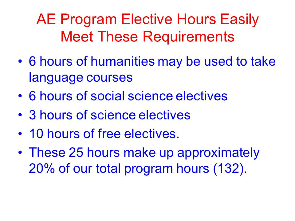 AE Program Elective Hours Easily Meet These Requirements 6 hours of humanities may be used to take language courses 6 hours of social science electives 3 hours of science electives 10 hours of free electives.