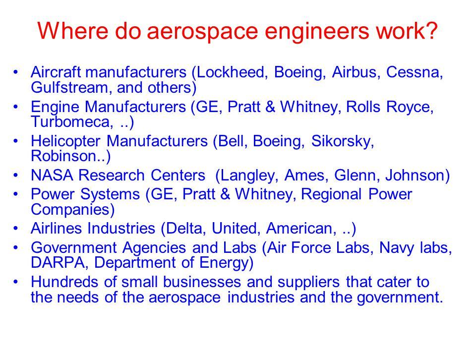 Where do aerospace engineers work.