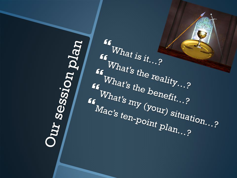 Our session plan What is it….What is it…. Whats the reality….