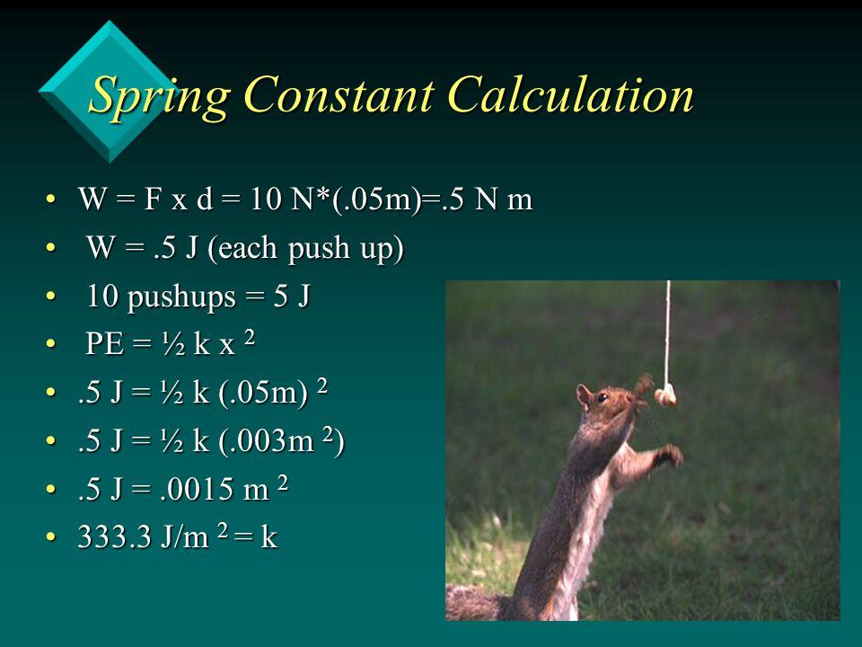Spring Constant Calculation W = F x d = 10 N*(.05m)=.5 N mW = F x d = 10 N*(.05m)=.5 N m W =.5 J (each push up) W =.5 J (each push up) 10 pushups = 5 J 10 pushups = 5 J PE = ½ k x 2 PE = ½ k x 2.5 J = ½ k (.05m) 2.5 J = ½ k (.05m) 2.5 J = ½ k (.003m 2 ).5 J = ½ k (.003m 2 ).5 J =.0015 m 2.5 J =.0015 m 2 333.3 J/m 2 = k333.3 J/m 2 = k