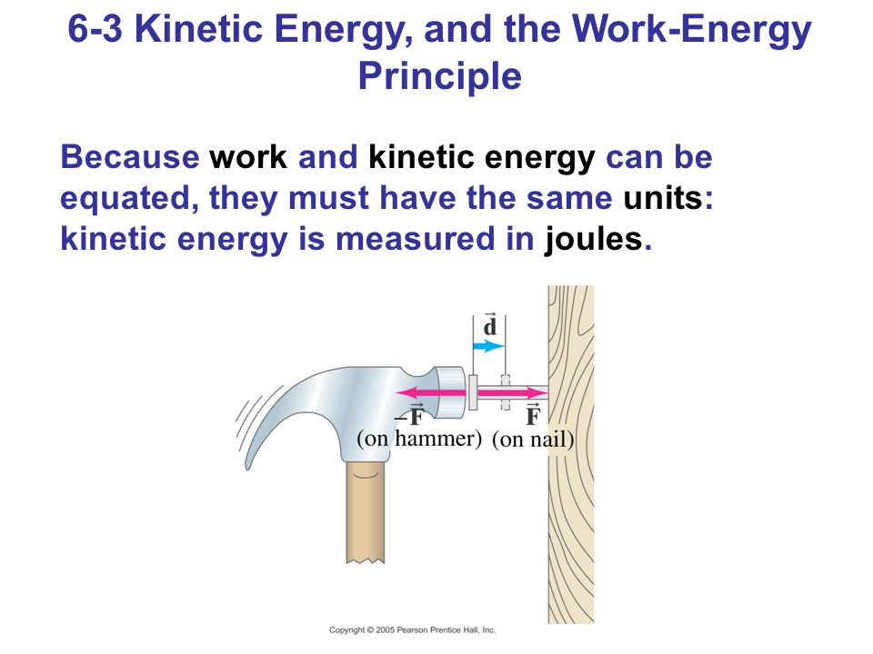 6-3 Kinetic Energy, and the Work-Energy Principle Because work and kinetic energy can be equated, they must have the same units: kinetic energy is measured in joules.