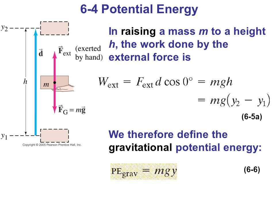 6-4 Potential Energy In raising a mass m to a height h, the work done by the external force is We therefore define the gravitational potential energy: