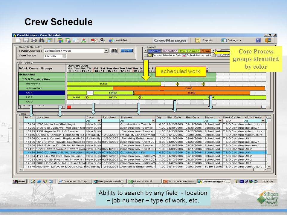 Crew Schedule scheduled work Core Process groups identified by color Ability to search by any field - location – job number – type of work, etc.
