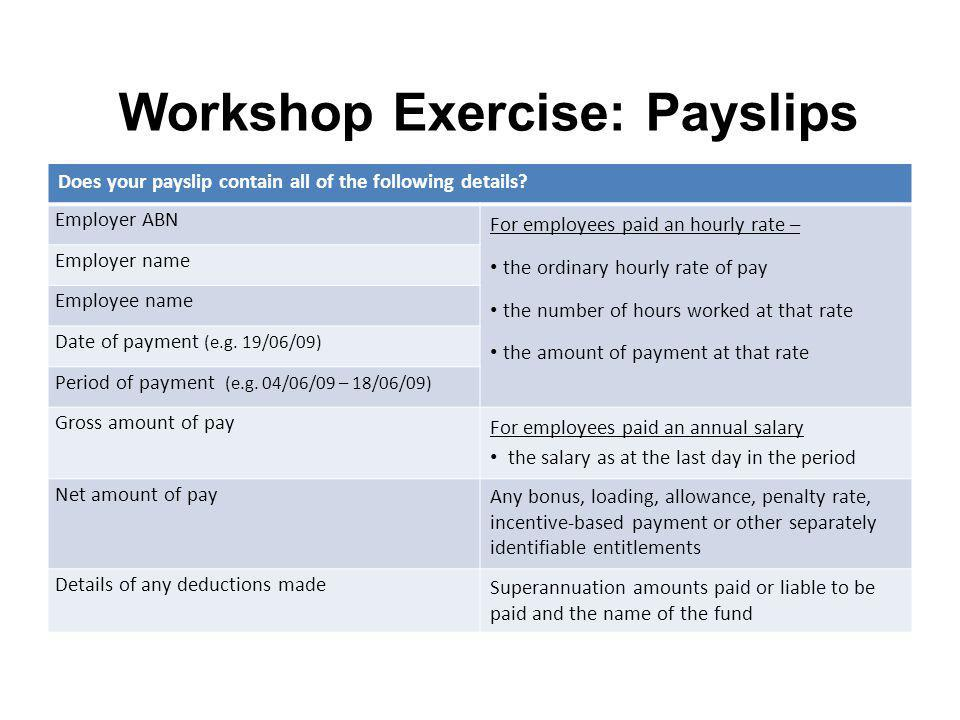 Workshop Exercise: Payslips Does your payslip contain all of the following details? Employer ABN For employees paid an hourly rate – the ordinary hour
