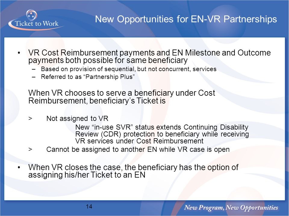 New Opportunities for EN-VR Partnerships VR Cost Reimbursement payments and EN Milestone and Outcome payments both possible for same beneficiary –Based on provision of sequential, but not concurrent, services –Referred to as Partnership Plus When VR chooses to serve a beneficiary under Cost Reimbursement, beneficiarys Ticket is >Not assigned to VR New in-use SVR status extends Continuing Disability Review (CDR) protection to beneficiary while receiving VR services under Cost Reimbursement >Cannot be assigned to another EN while VR case is open When VR closes the case, the beneficiary has the option of assigning his/her Ticket to an EN 14