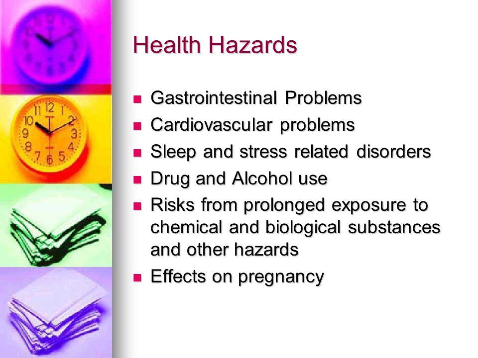Health Hazards Gastrointestinal Problems Gastrointestinal Problems Cardiovascular problems Cardiovascular problems Sleep and stress related disorders