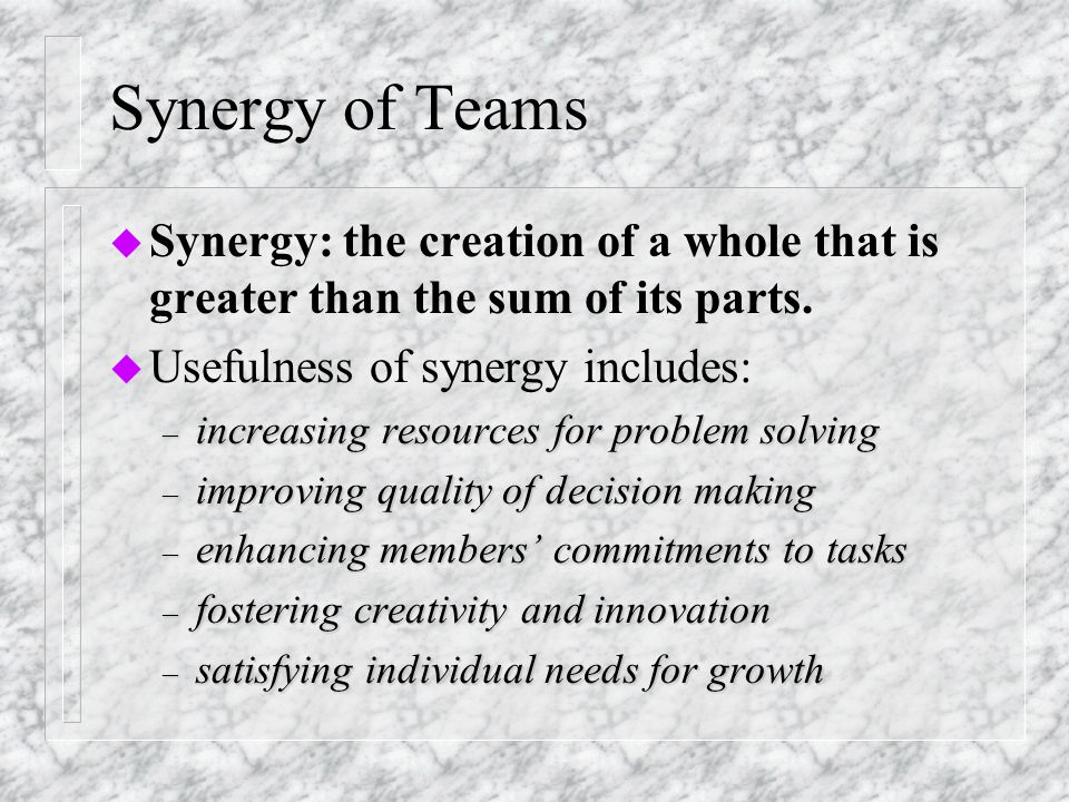 Types of Teams u Formal versus informal u Mechanical versus organic u Inter-team versus intra-team u Inter-agency versus intra-agency u Same discipline versus different disciplines u User-involved versus user-led