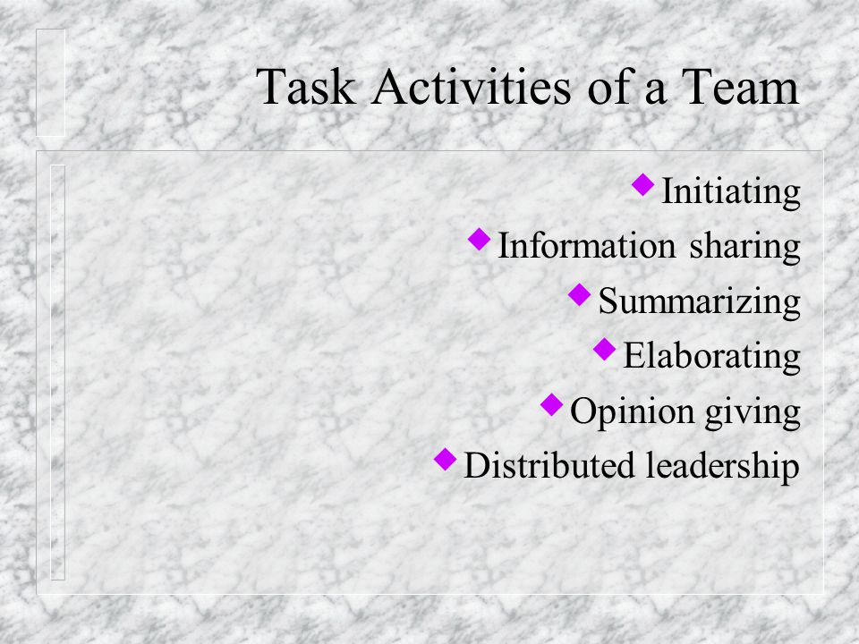Throughputs of team building u The way members interact and work together to transform inputs into outputs.
