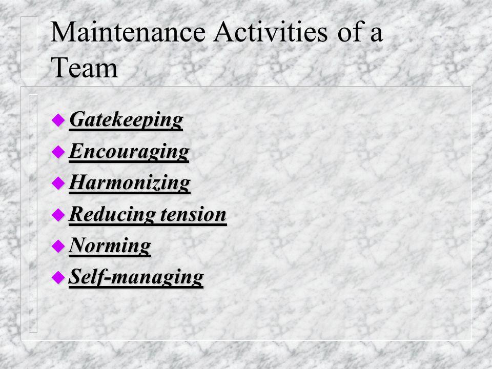 Maintenance Activities of a Team u Gatekeeping u Encouraging u Harmonizing u Reducing tension u Norming u Self-managing