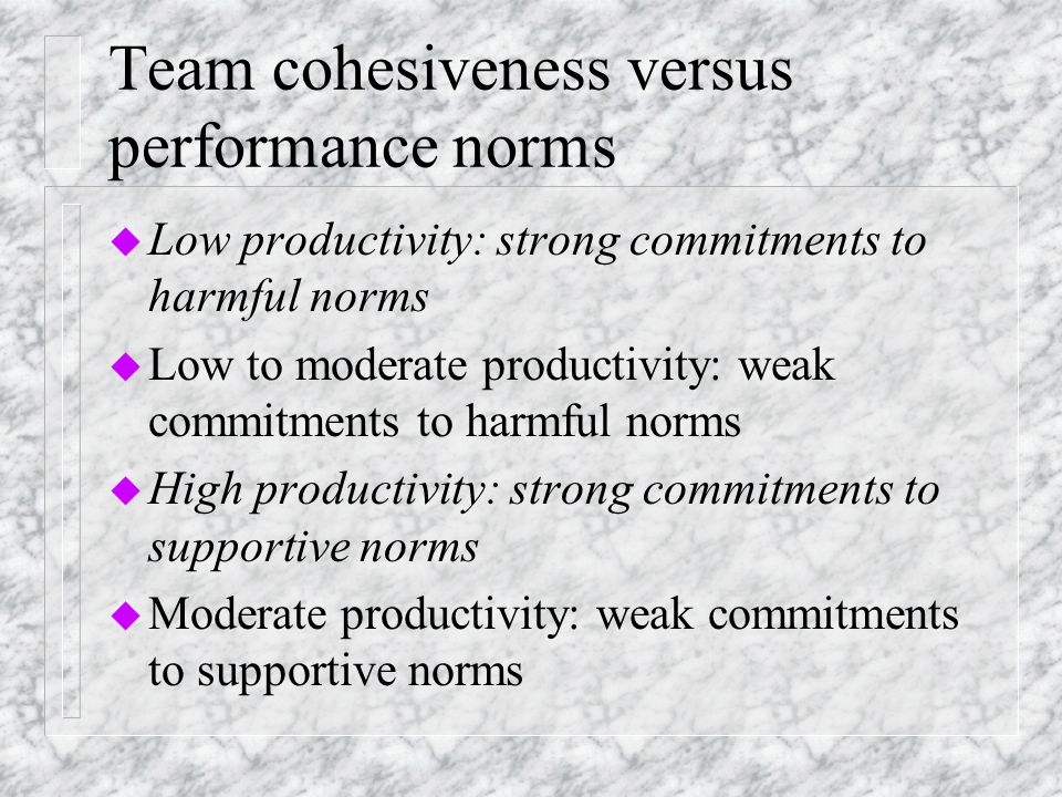 Team cohesiveness versus performance norms u Low productivity: strong commitments to harmful norms u Low to moderate productivity: weak commitments to harmful norms u High productivity: strong commitments to supportive norms u Moderate productivity: weak commitments to supportive norms