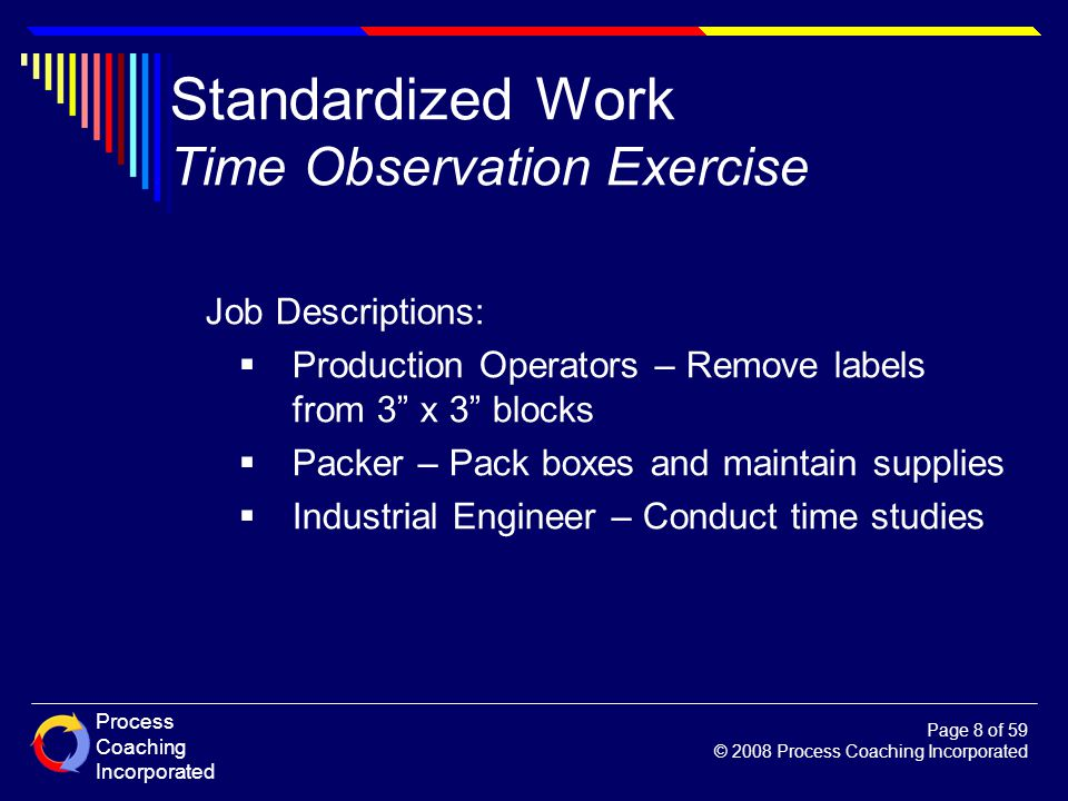 Process Coaching Incorporated Page 8 of 59 © 2008 Process Coaching Incorporated Standardized Work Time Observation Exercise Job Descriptions: Producti
